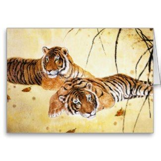 SOLD! x3 - chinese fluffy resting tigers vintage sumi-e painting art greeting card #chinese #tigers #painting #card
