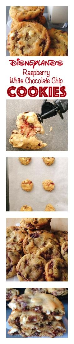 Soft, chewy, easy, homemade Raspberry White Chocolate Chip Pudding Cookies. Disneyland Copycat Recipe.