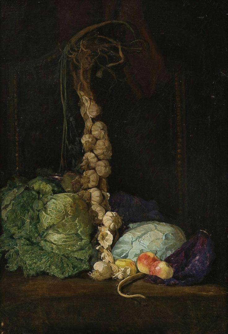 Kitty Kielland (Norwegian, 1843 - 1914):Still life with cabbage, garlic and apples