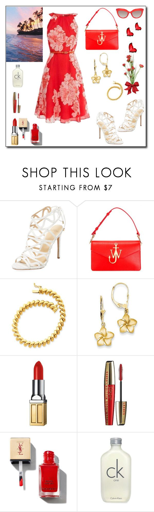 """""""Red Vacation Dress"""" by rboowybe ❤ liked on Polyvore featuring Alexandre Birman, J.W. Anderson, Elizabeth Arden, L'Oréal Paris, Calvin Klein and contestentry"""