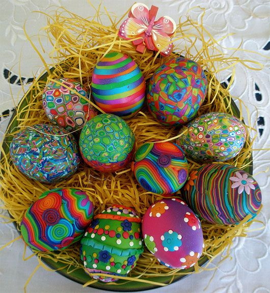 Easter Eggs in the basket (polymer clay)