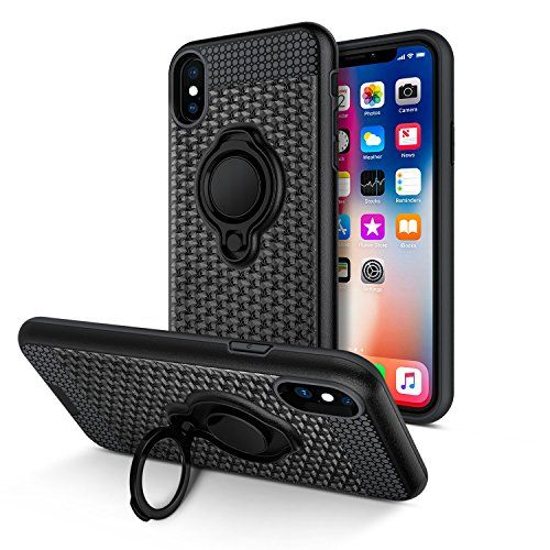 iPhone X Case Vafru 360 Degree Rotating Ring Grip kickstand Dual Layer Shock-Absorption Anti-Scratch Protection Compatible with Magnetic Car Phone (black)