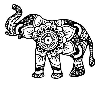 Mandala Elephant on floral for living room