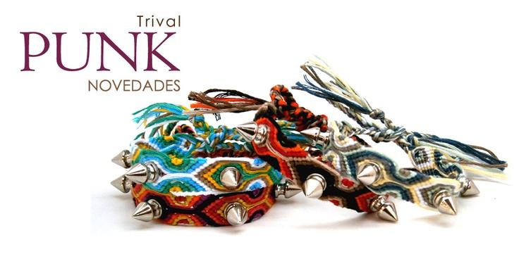 #Trival #Punk #Frendship #Bracelets, Colección de #pulseras de la #amistad con #tachas de acero...Obsidian #accesorios hechos a mano