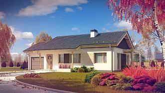Z259 - Mały, wygodny dom parterowy z widnym salonem, tani i szybki w budowie.