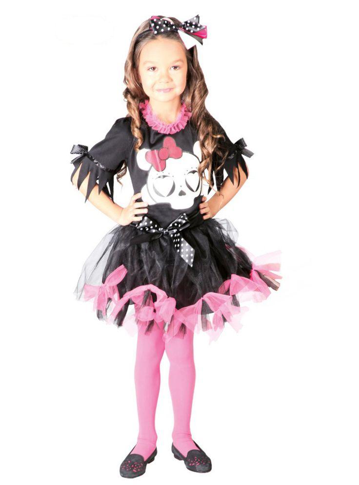 Te sentirás como Draculaura de Monster High con este disfraz de calavera infantil. Incluye un vestido negro con lazos rosas y una diadema con un lazo de lunares.