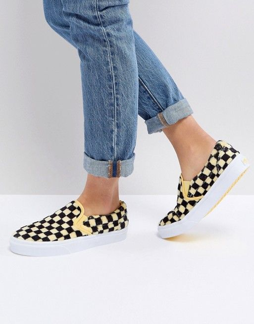 6e93cb1738a Vans Fluffy Yellow Checkerboard Slip On Sneakers