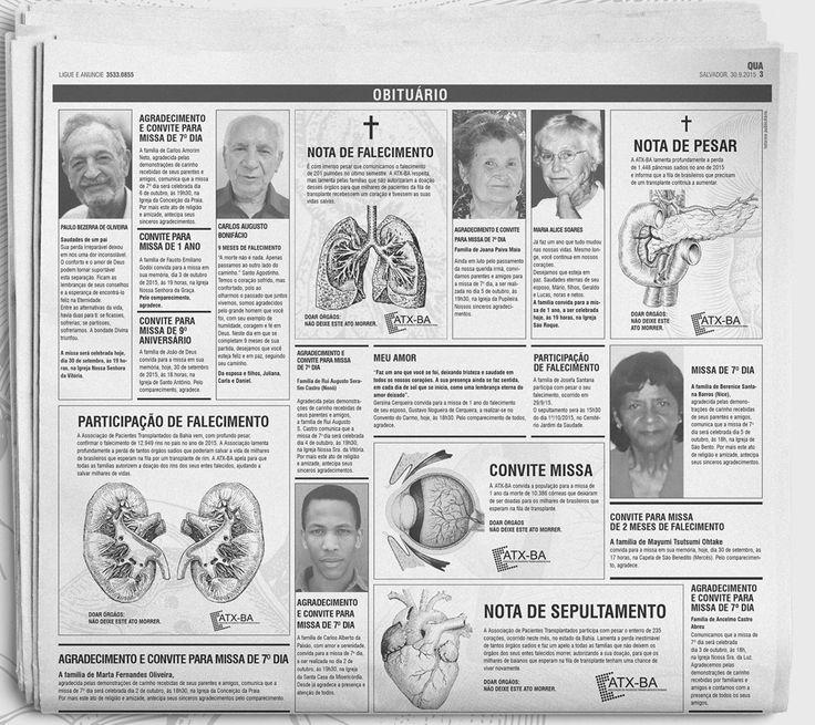 Anúncios em obituário de jornal promovem doação de órgãos