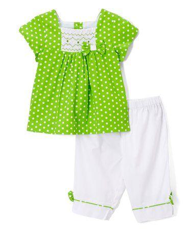 Look at this #zulilyfind! Green Polka Dot Smocked Top & White Pants - Infant & Toddler #zulilyfinds