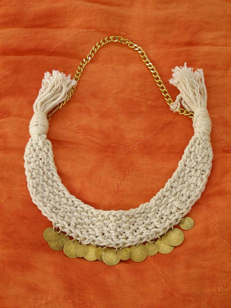 Knitting statement necklace with coins, summer 2014