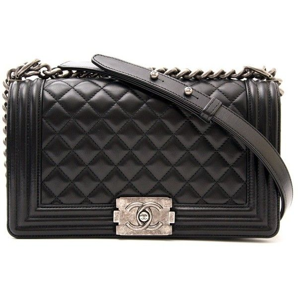 Chanel Black Medium Quilted Boy Bag ❤ liked on Polyvore featuring bags, handbags, quilted bag, chanel, quilted handbags, chanel purse and chanel bags