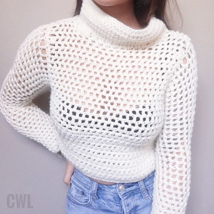 Crochet cropped turtleneck sweater by Crochitted with Love