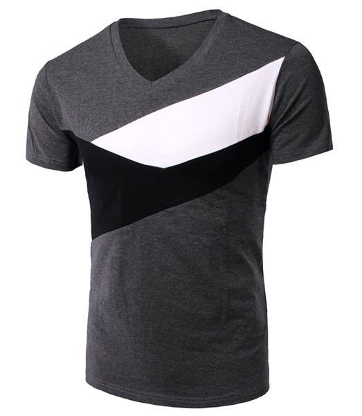 Note: Asian Sizes, Please see Size Conversion Chart tab before placing the order! Slimming Color Block V-Neck Short Sleeves T-Shirt For Men. Made of cotton blend and available in navy, green and grey.