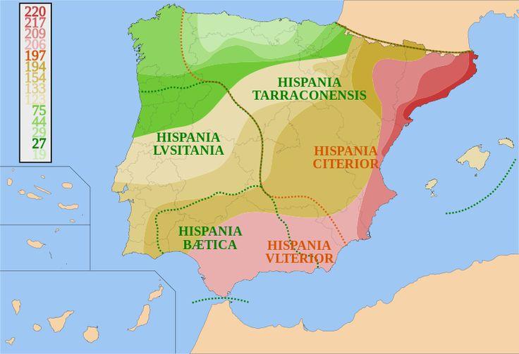 Conquista romana de Hispania ~ En el año 218 aC, los primeros soldados romanos invadieron la Península Ibérica, durante la Segunda Guerra Púnica contra los cartagineses, y la anexionó en tiempos de Augusto, después de dos siglos de guerra con el Celtic y tribus ibéricas y los fenicios, griegos y cartagineses las colonias , lo que resulta en la creación de la provincia de Hispania.