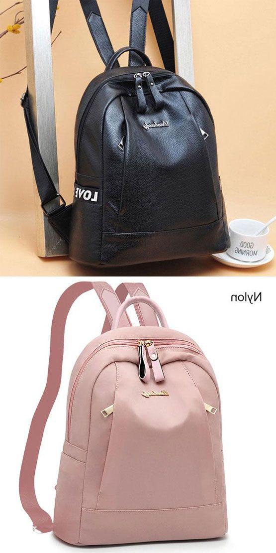 Elegant Black Pink Love Pocket Nylon PU Simple Large School Girl s Backpack   backpack  bag  school  college a1639da856