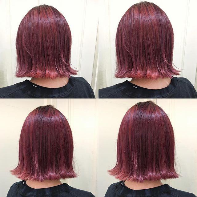 Yumi Yoshikawaさんはinstagramを利用しています チェリーレッド 赤茶 ベリーピンク ずーーーっと暗めのブルーブラックで 根元のリタッチ幅も10センチくらいの お客様を 1ブリーチカラー 意外と難 レッドヘアカラー 赤茶 ヘアカラー 髪