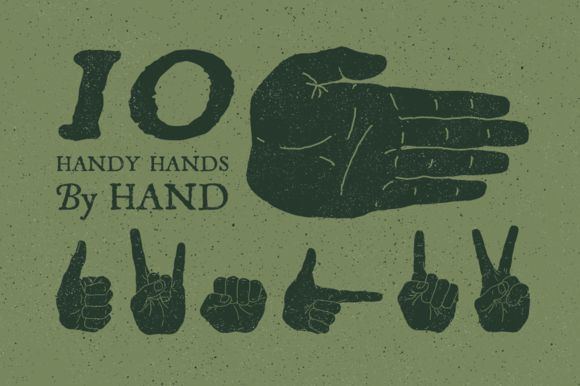 10 Hand Illustrated Hands and Fists by GhostlyPixels on Creative Market