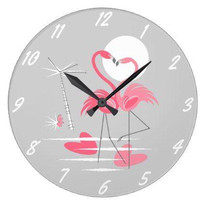 Flamingo Love clock numbers round - wedding decor marriage design diy cyo party idea