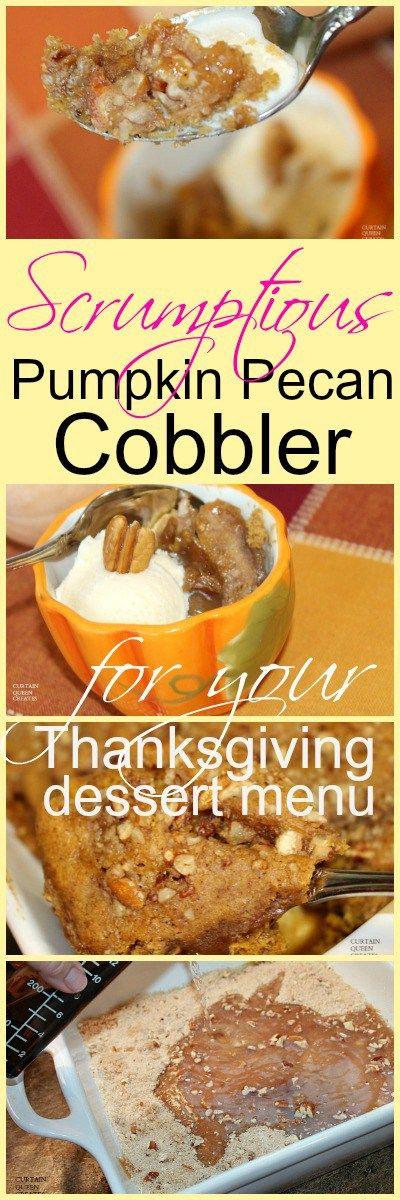 Pumpkin Pecan Cobbler for Thanksgiving Menu