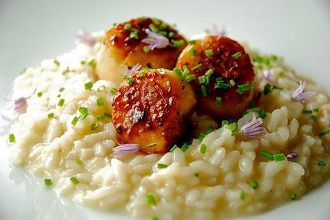 Lemony Risotto with Seared Sea Scallops and Truffle Oil | Kitchen Culinaire
