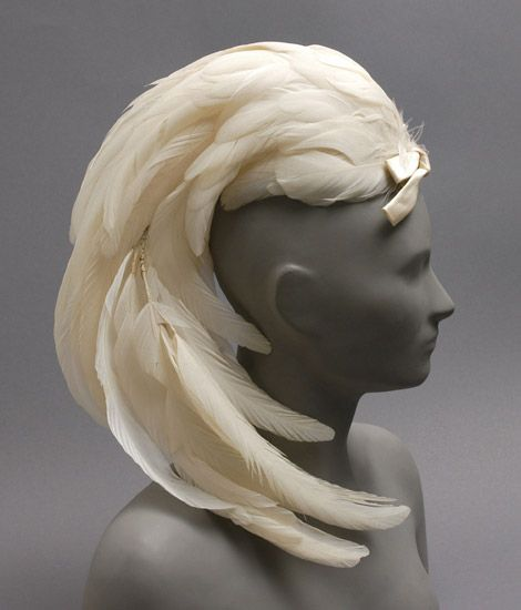 Woman's hat   Made in California, 1959   Designed by Gustave Tassell, American, b. 1926   Materials: white feathers, white satin   Philadelphia Museum of Art