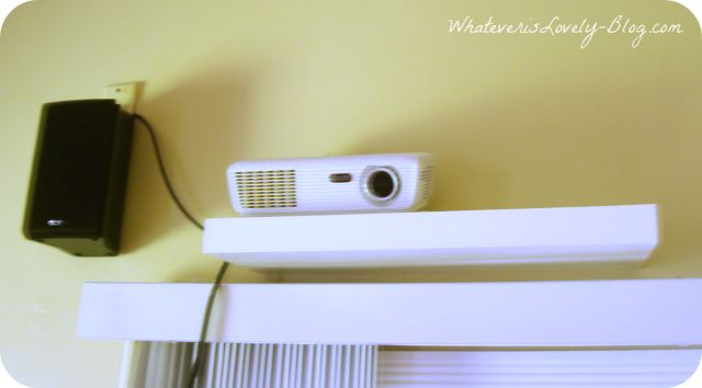 Projector mounted on a shelf