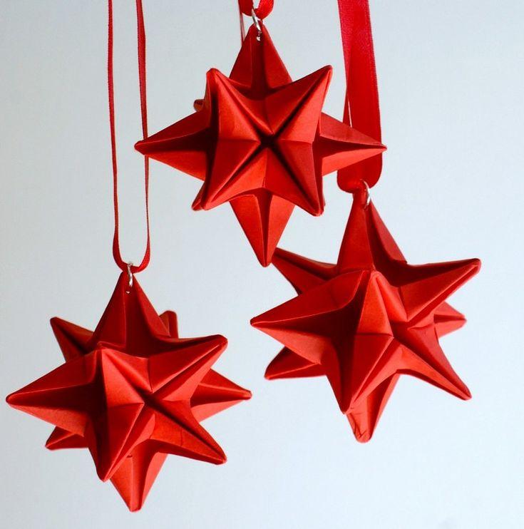 origami Noël original: étoiles origami superbes 3d en papier rouge