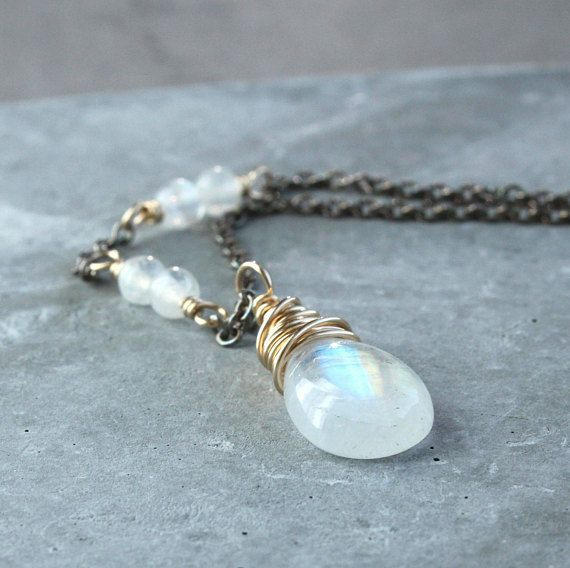 White Moonstone  Necklace Mixed Metal  Silver And Gold  June