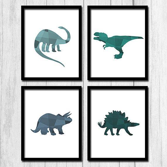 Set of Four Print Digital Download Animal Prints Geometric Animal Art Dinosaur Printable Downloadable Art Set of Four 8x10 Printable Art