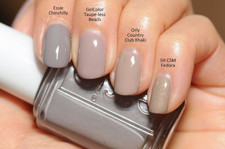Comparison: Essie Chinchilly, OPI GelColor Taupe-less Beach, Orly Country Club Khaki (regular, not gel), SH CSM Fedora