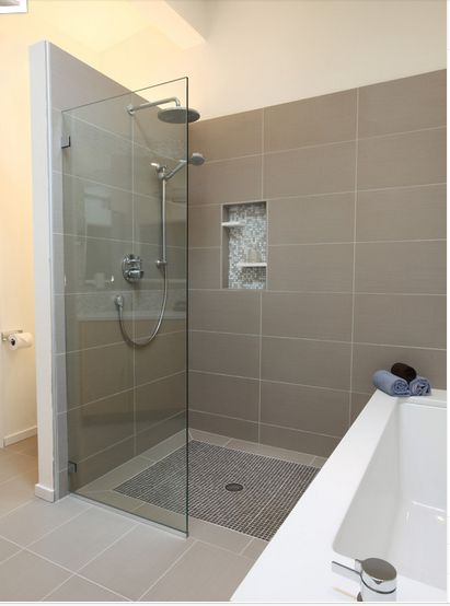 This is how I want the shower to be separated by a partial glass panel.