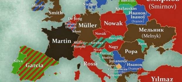 Los apellidos más comunes de cada país europeo, en un mapa - 20minutos.es