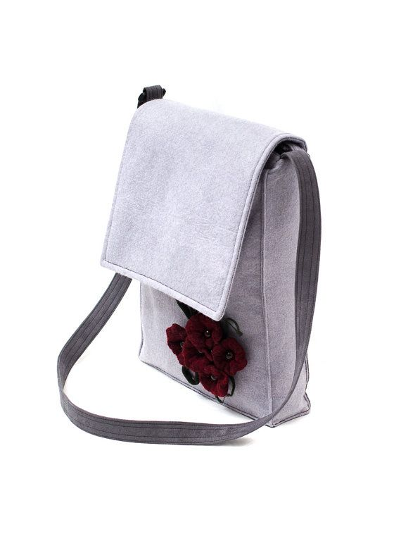 Gray messenger made from soft felt & alcantara with wet felted flowers. Handmade by Anardeko