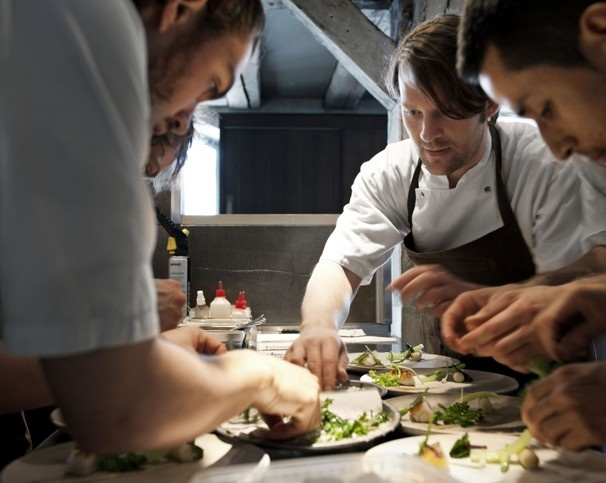 """Noma ~ René Redzepi (second from the right), co-owner of Noma, is the high priest of """"new Nordic"""" cuisine, which has supplanted Spain's formerly avant-garde molecular gastronomy as the latest, buzzy Big Idea in international cuisine. Redzepi had done stints early in his career at the late El Bulli near Barcelona and the French Laundry in Napa Valley before returning to Copenhagen to work at Kong Hans Kælder. In 2003, restaurateur Claus Meyer tapped him to open Noma. #Copenhagen #Noma"""