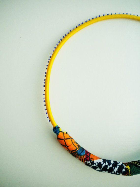 Joyería africana collar de cuerda amarilla joyería textil