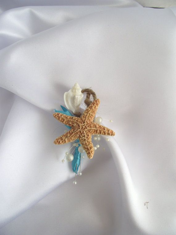 deep aqua blue sea shell boutonniere, beach wedding boutonniere, starfish boutonniere, , coastal wedding corsage, starfish corsage