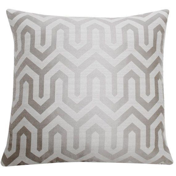 Silver Gray Chevron Ikat Decorative Pillow by ChloeandOliveDotCom vera B. Pinterest Gray ...