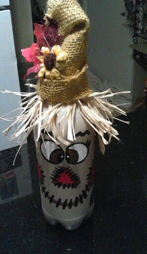 Scarecrow painted bottle.