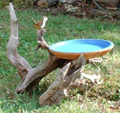 Rustic Garden Projects | Rustic Bird Baths | Garden Crafts & Garden Decor