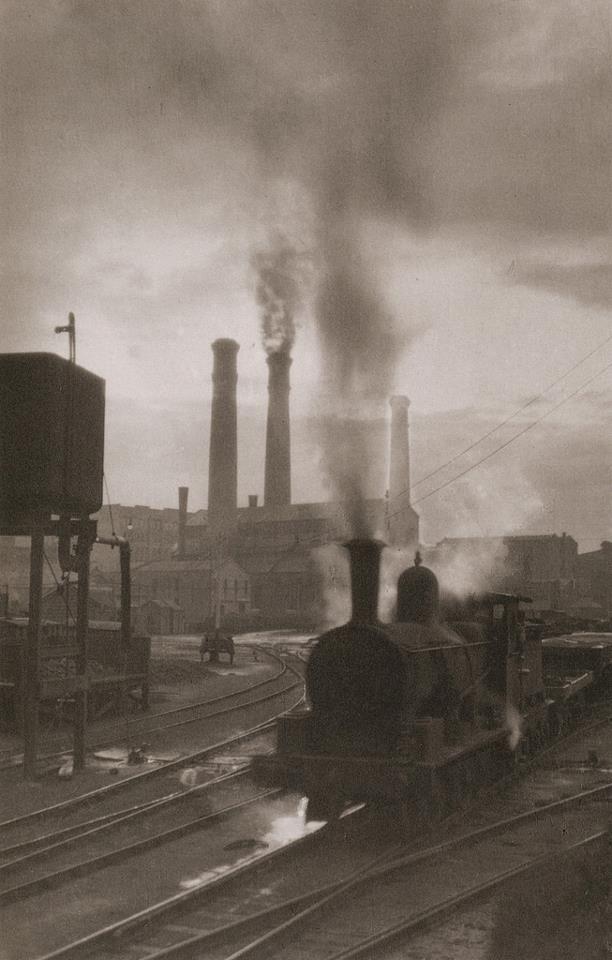 © Harold Cazneaux, Pyrmont Marshalling Yards, Sydney, 1910. On rails, steam, train, smoke, railway, tracks, history, photograph, photo b/w.
