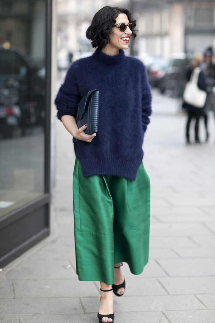 Street Style at Paris Fashion Week Fall 2013 | A brilliant color story executed with great texture.