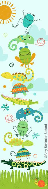 happy frogg, crocodile, cameleon, turtle, sun