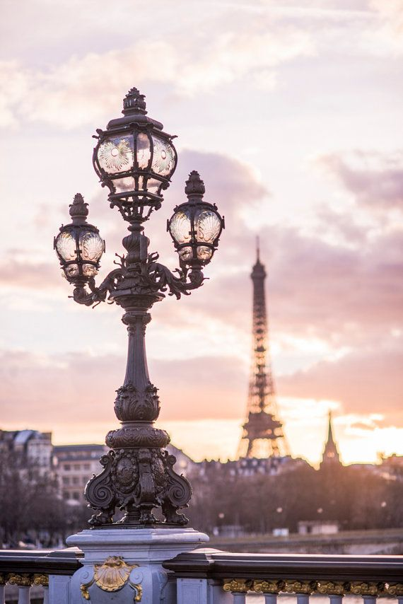 Paris Photograph – Sunset from Pont Alexandre III, Paris in Mauve, Eiffel Tower, French Home Decor, Lamp Post, Large Wall Art