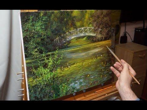 """""""Пруд с кувшинками"""". Олег Буйко. Живопись маслом. Process of creating oil paintingfrom Oleg Buiko - YouTube"""