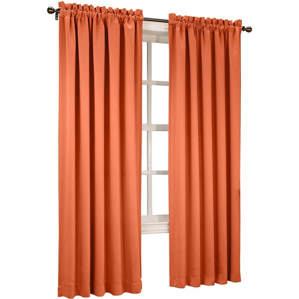 Sun Zero™ Emory 2-Pack Room-Darkening Rod-Pocket Curtain Panels,... ($30) ❤ liked on Polyvore featuring home, home decor, window treatments, curtains, room darkening curtains, orange curtain panels, orange curtains, rod pocket window panel and rod pocket panel