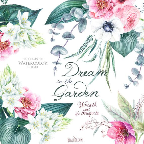 Wedding Watercolor Wreath & Bouquets Helleborus by ReachDreams