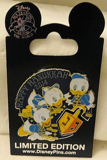 Disney Huey Dewey Louie Dreidel Happy Hanukkah 2014 LE Pin New On Card $34.99