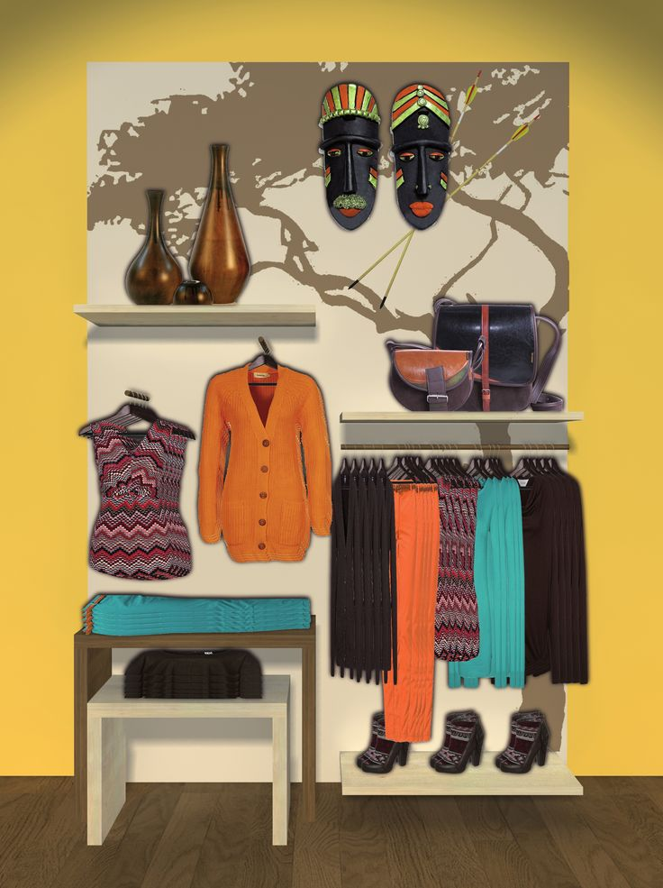 Visual merchandising: wall design for clothing brand