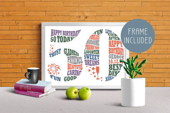 Personalised 50th Birthday Gift, 50th birthday card, Personalized Birthday Gift, 50th Birthday, Gift for Him, Gift for Her, Word Art, FRAMED