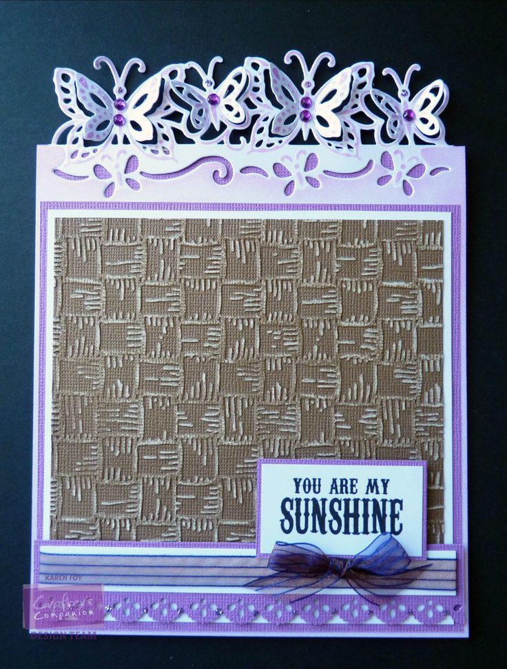 Basketweave Folder White Centura Pearl Card Purple and Brown Coredinations Diesire Butterfly Edgeables die. Border Punch, Gems, Glitter Glue, Sentiment